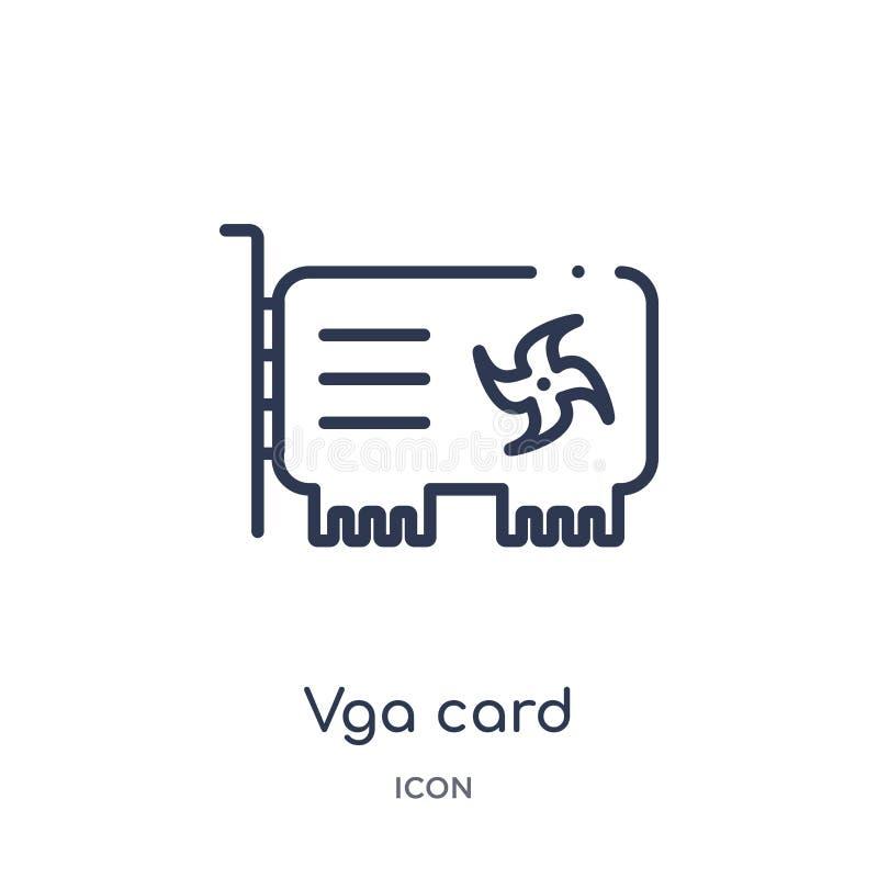 Icono linear de la tarjeta del vga de la economía de Cryptocurrency y de la colección del esquema de las finanzas Línea fina vect ilustración del vector