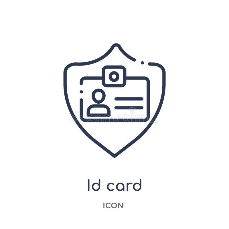Icono linear de la tarjeta de la identificación de la colección del esquema de Gdpr Línea fina icono de la tarjeta de la identifi ilustración del vector