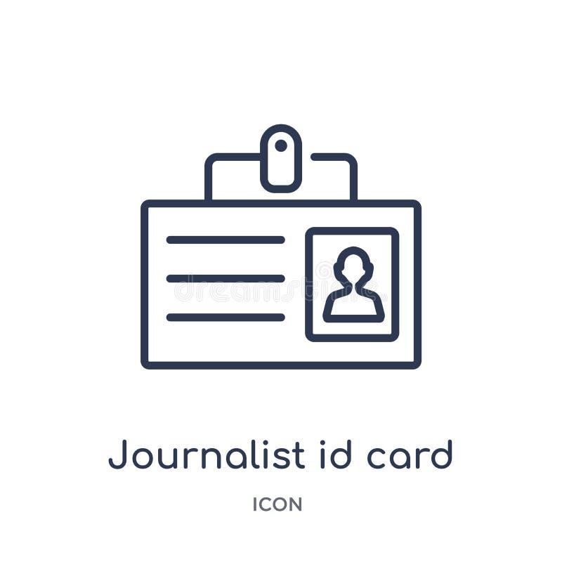 Icono linear de la tarjeta de la identificación del periodista de la colección del esquema del negocio Línea fina icono de la tar libre illustration