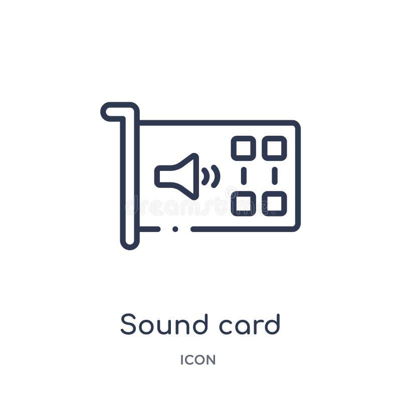 Icono linear de la tarjeta de sonido de la colección del esquema de los dispositivos electrónicos Línea fina vector de la tarjeta libre illustration