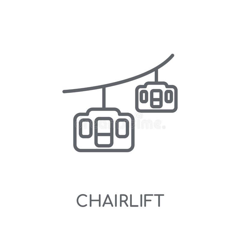 icono linear de la telesilla Concepto moderno del logotipo de la telesilla del esquema encendido libre illustration