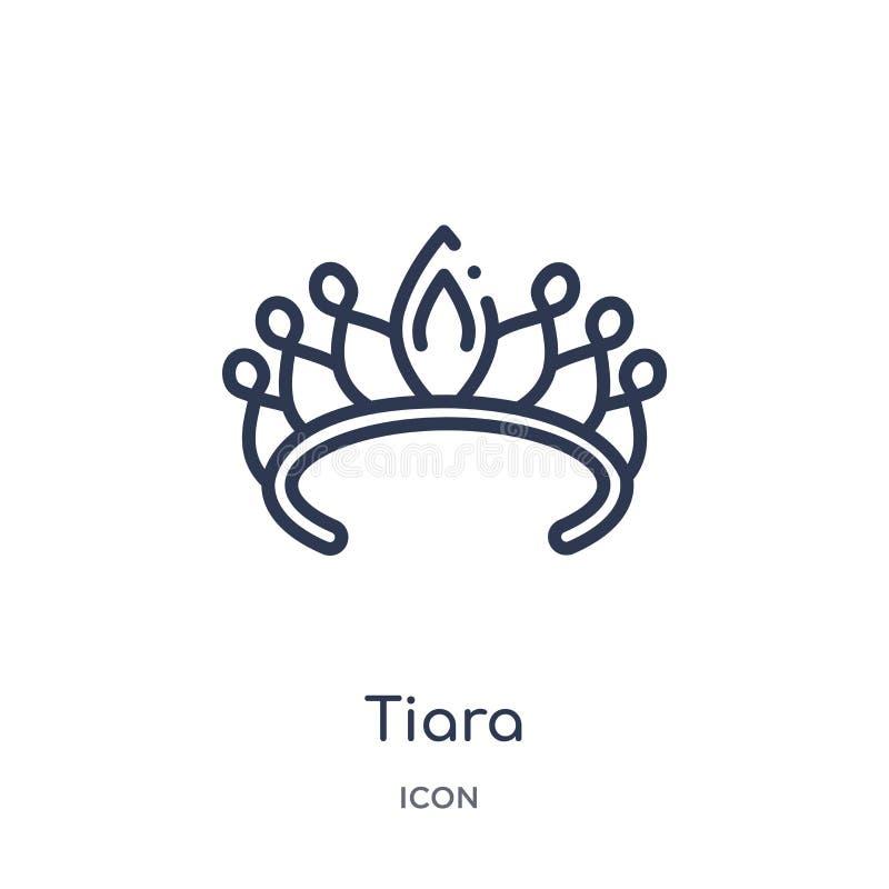 Icono linear de la tiara de la colección del esquema de la joyería Línea fina icono de la tiara aislado en el fondo blanco ejempl ilustración del vector