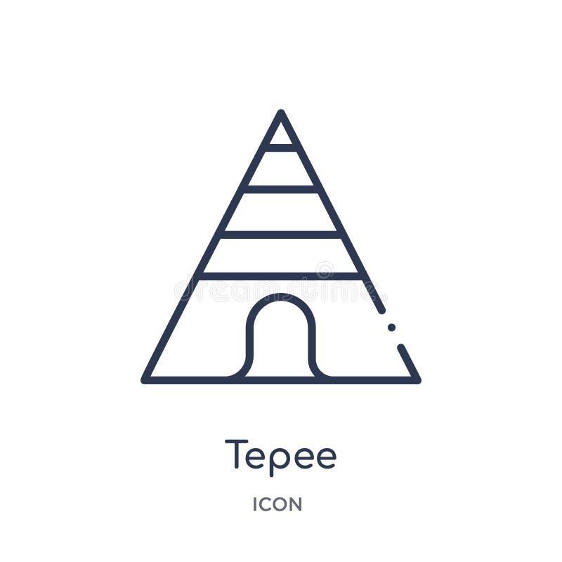Icono linear de la tienda de los indios norteamericanos de la colección del esquema del desierto Línea fina vector de la tienda d stock de ilustración
