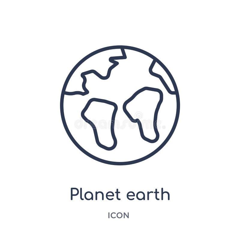 Icono linear de la tierra del planeta de la entrega y de la colección logística del esquema Línea fina vector de la tierra del pl stock de ilustración