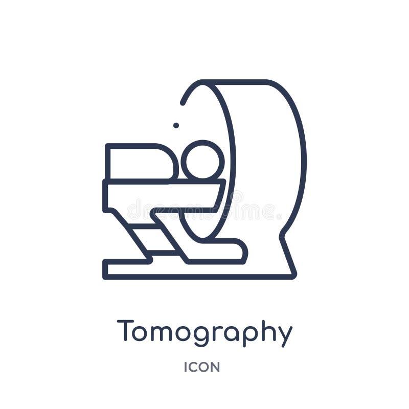 Icono linear de la tomografía de la colección médica del esquema Línea fina icono de la tomografía aislado en el fondo blanco tom stock de ilustración