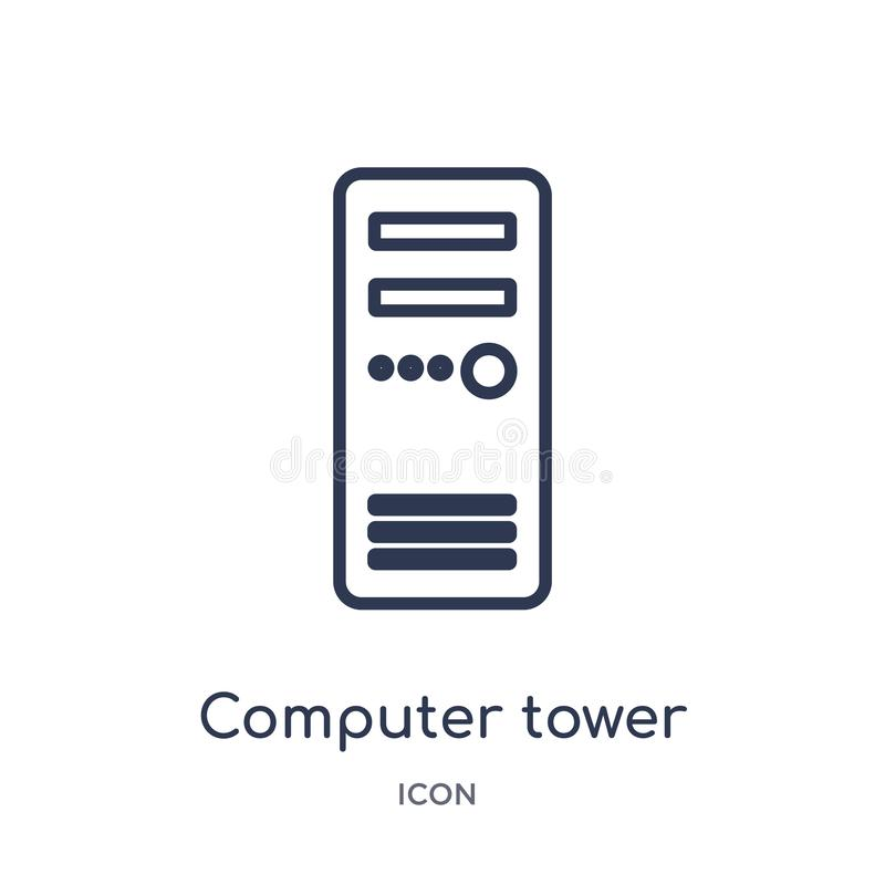 Icono linear de la torre del ordenador de la colección electrónica del esquema del terraplén de la materia Línea fina vector de l stock de ilustración