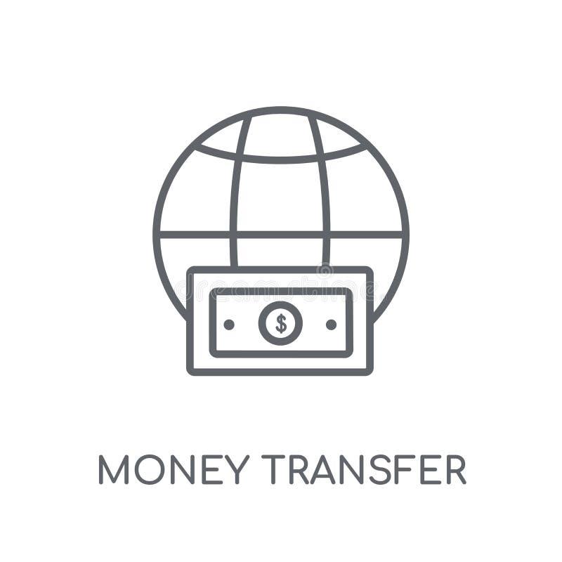 Icono linear de la transferencia monetaria Logotipo moderno c de la transferencia monetaria del esquema stock de ilustración