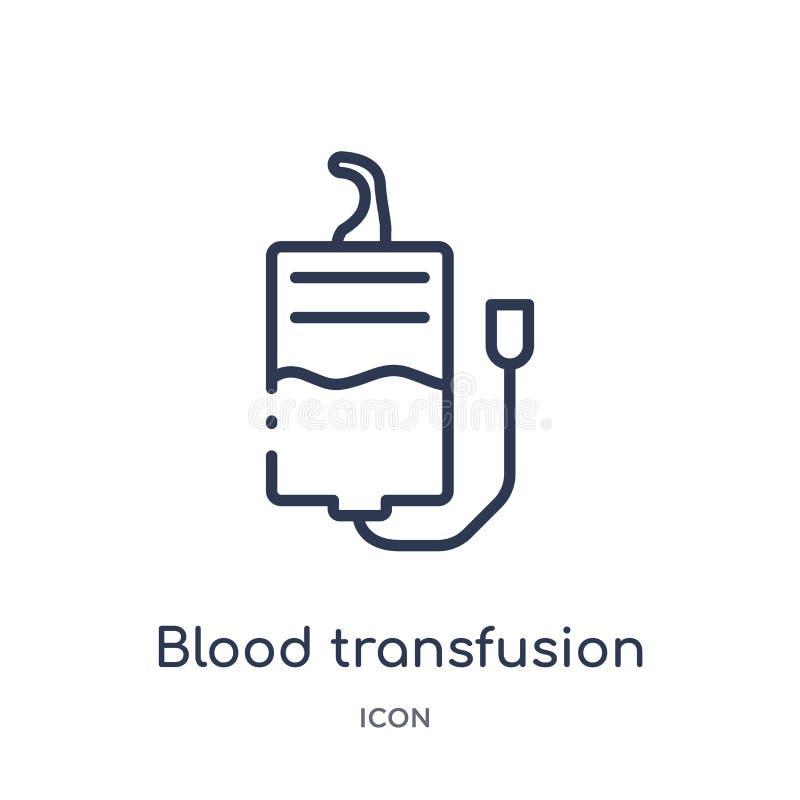 Icono linear de la transfusión de sangre de la colección del esquema del ejército Línea fina vector de la transfusión de sangre a ilustración del vector