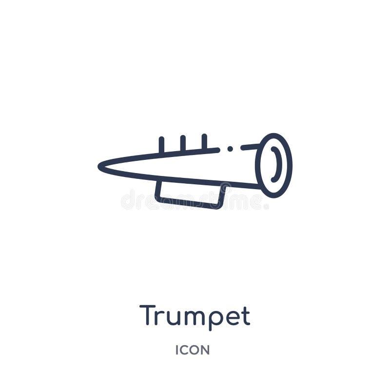 Icono linear de la trompeta de la colección del esquema de Brazilia Línea fina vector de la trompeta aislado en el fondo blanco t stock de ilustración