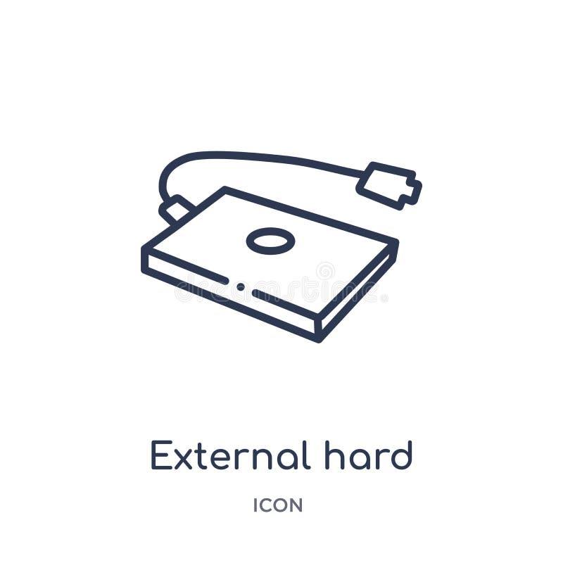 Icono linear de la unidad de disco duro externa de la colección del esquema del hardware Línea fina icono de la unidad de disco d stock de ilustración