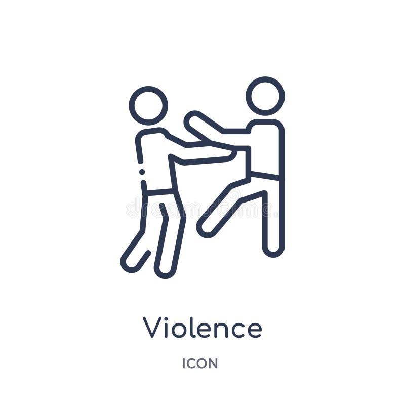 Icono linear de la violencia de la colección del esquema de la ley y de la justicia Línea fina icono de la violencia aislado en e libre illustration