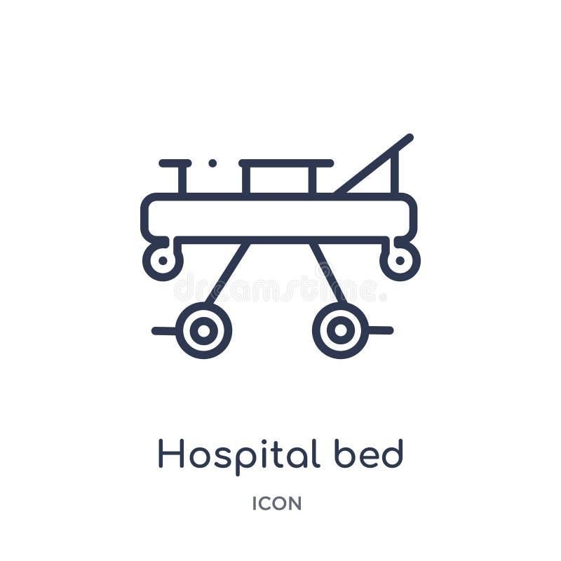 Icono linear de la vista lateral de la cama de hospital de la colección médica del esquema Línea fina icono de la vista lateral d stock de ilustración