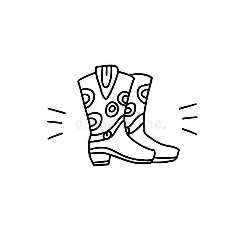 Icono linear de las botas de vaquero Ilustraci?n del vector stock de ilustración
