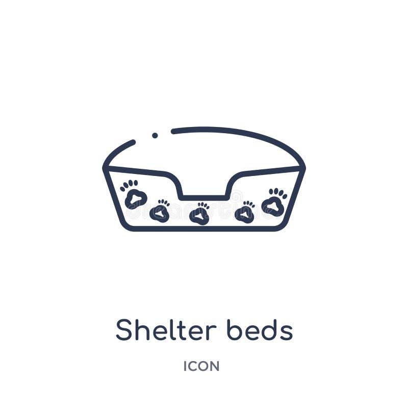 Icono linear de las camas del refugio de la colección del esquema de la caridad Línea fina vector de las camas del refugio aislad ilustración del vector