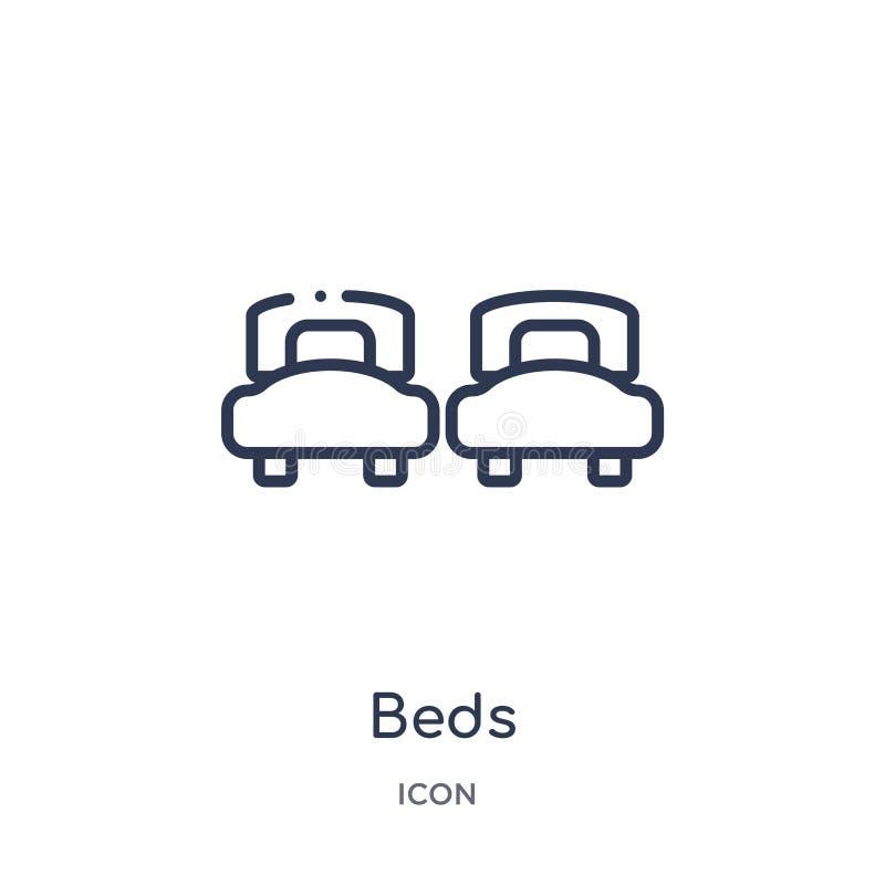 Icono linear de las camas de la colección del esquema del hotel Línea fina icono de las camas aislado en el fondo blanco ejemplo  libre illustration