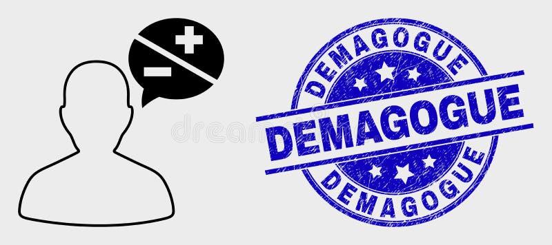 Icono linear de las discusiones de la persona del vector y sello rasguñado del sello del demagogo libre illustration