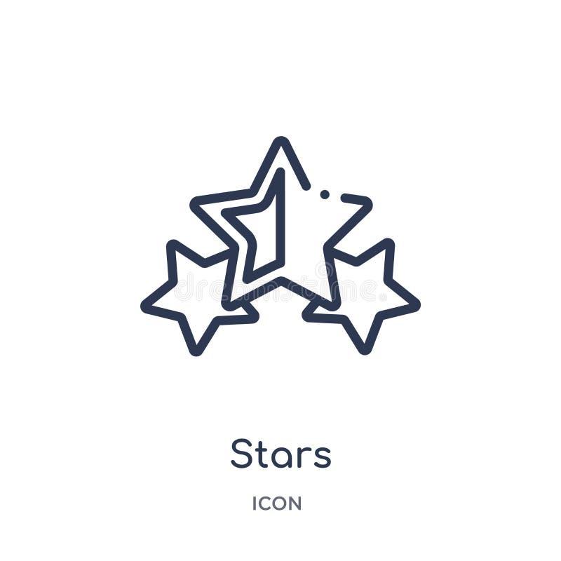 Icono linear de las estrellas de la colección de lujo del esquema Línea fina icono de las estrellas aislado en el fondo blanco ej ilustración del vector