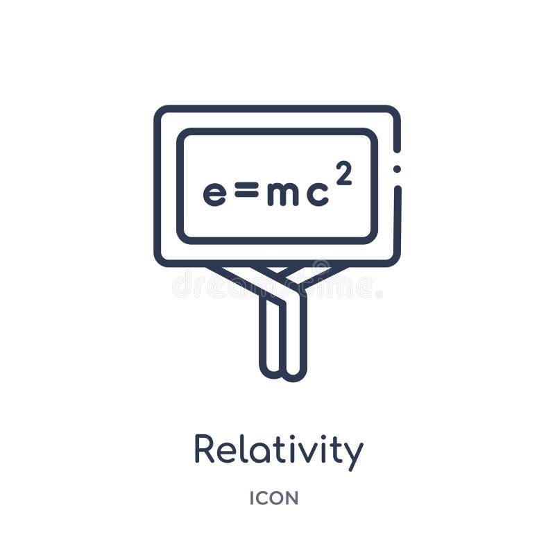 Icono linear de las fórmulas de la relatividad de la colección del esquema de la educación Línea fina icono de las fórmulas de la libre illustration