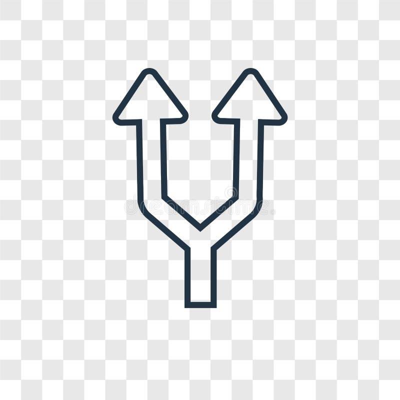 Icono linear de las flechas del vector partido del concepto aislado en transparente stock de ilustración