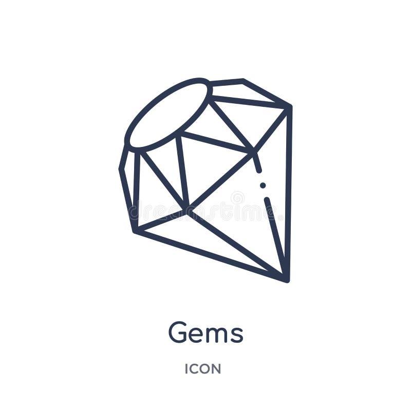 Icono linear de las gemas de la colección de lujo del esquema Línea fina icono de las gemas aislado en el fondo blanco ejemplo de libre illustration