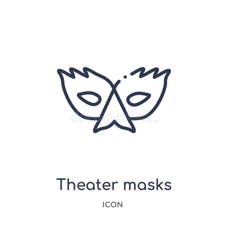 Icono linear de las máscaras del teatro de la colección del esquema de Brazilia Línea fina vector de las máscaras del teatro aisl stock de ilustración