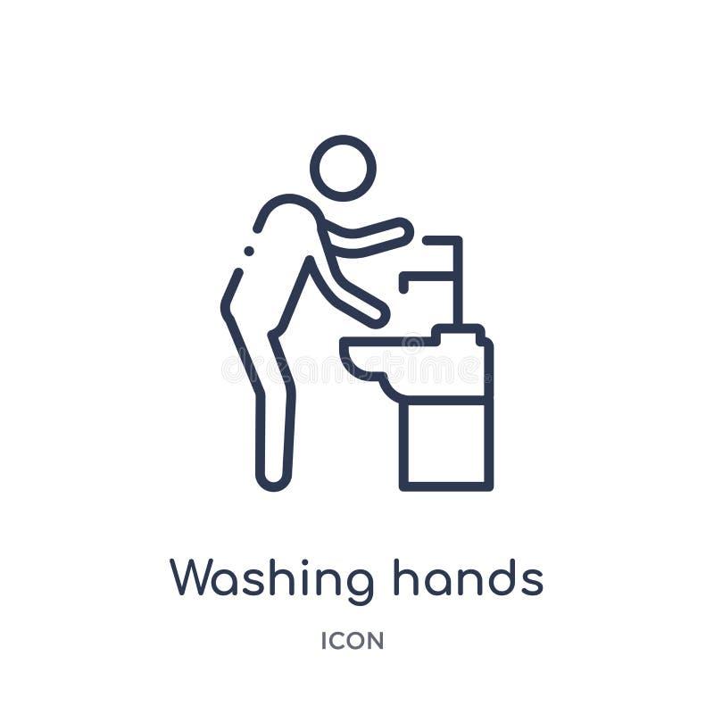 Icono linear de las manos que se lava de la colección del esquema del comportamiento Línea fina vector de las manos que se lava a libre illustration