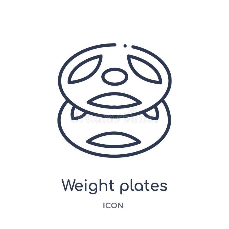 Icono linear de las placas del peso de la colección del esquema del equipo del gimnasio Línea fina icono de las placas del peso a ilustración del vector