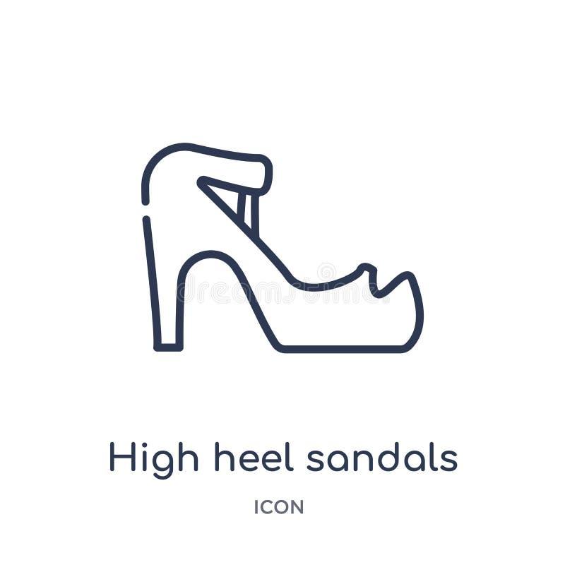 Icono linear de las sandalias del tacón alto de la colección del esquema de la moda Línea fina icono de las sandalias del tacón a stock de ilustración