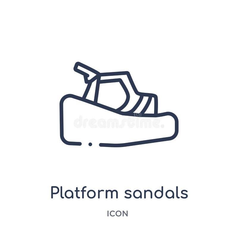 Icono linear de las sandalias de la plataforma de la colección del esquema de la ropa Línea fina vector de las sandalias de la pl stock de ilustración