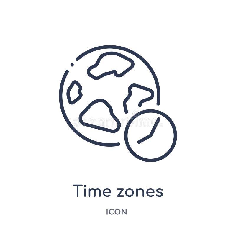 Icono linear de las zonas horarias de la colección del esquema del terminal de aeropuerto Línea fina vector de las zonas horarias libre illustration