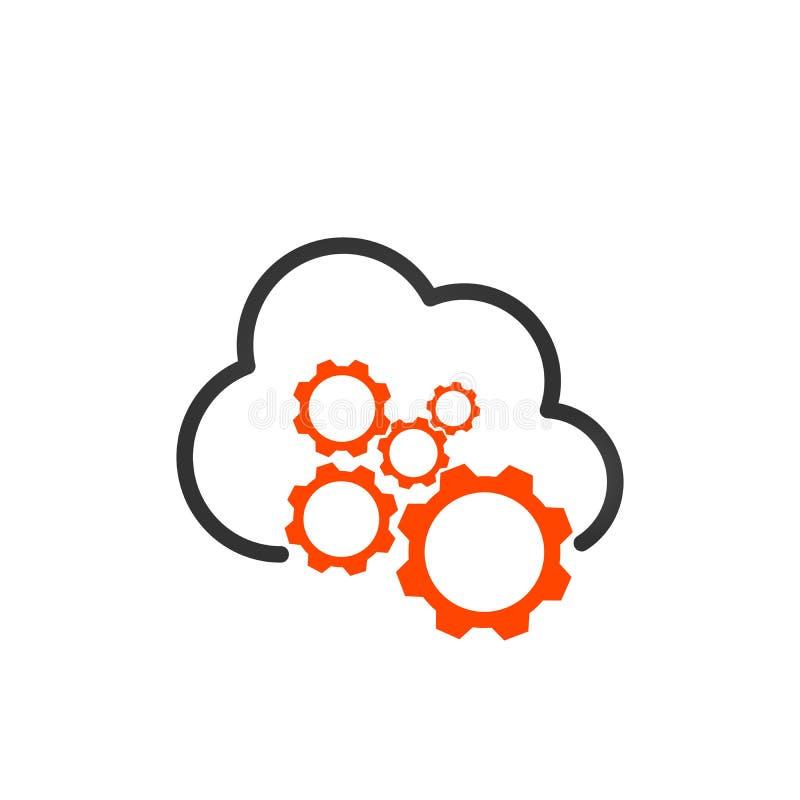 Icono linear de los ajustes del almacenamiento de la nube Preferencias del web hosting La nube que computa con las ruedas dentada ilustración del vector