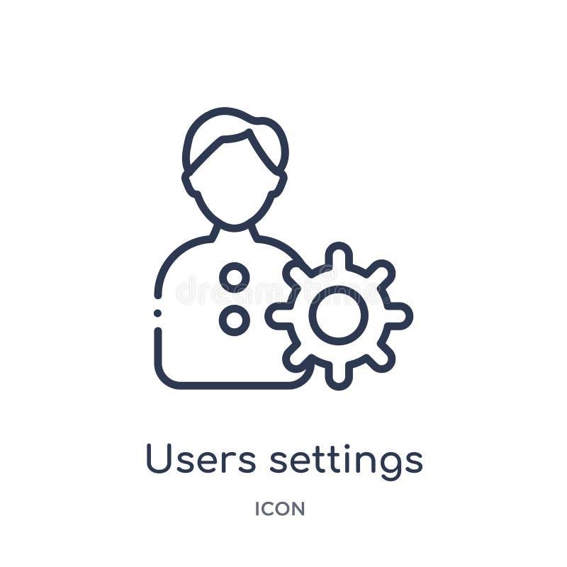 Icono linear de los ajustes de los usuarios de la colección del esquema de la educación Línea fina vector de los ajustes de los u stock de ilustración