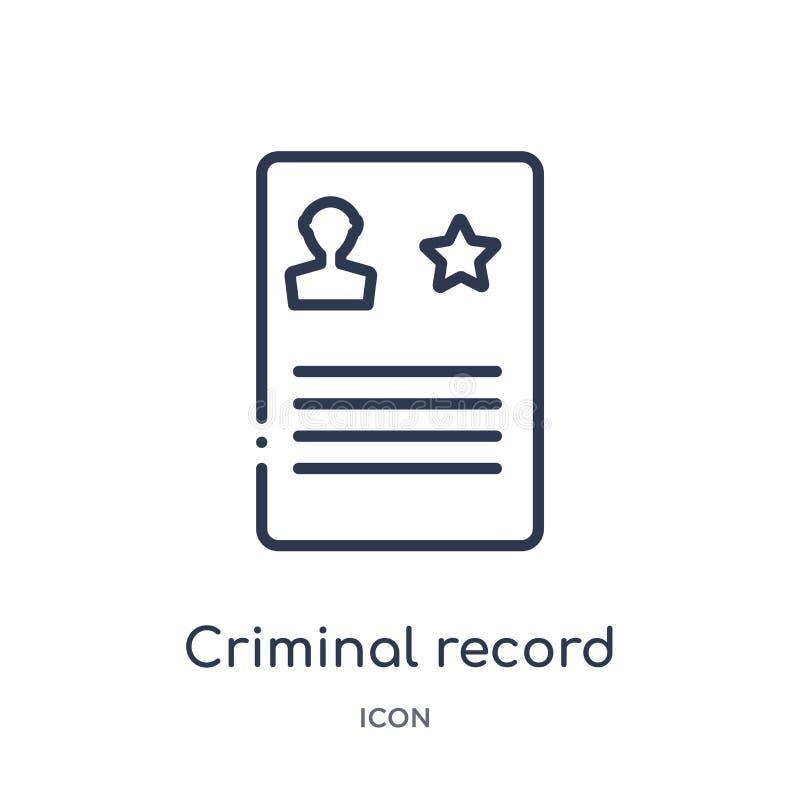 Icono linear de los antecedentes penales de la colección del esquema de la ley y de la justicia Línea fina icono de los anteceden libre illustration