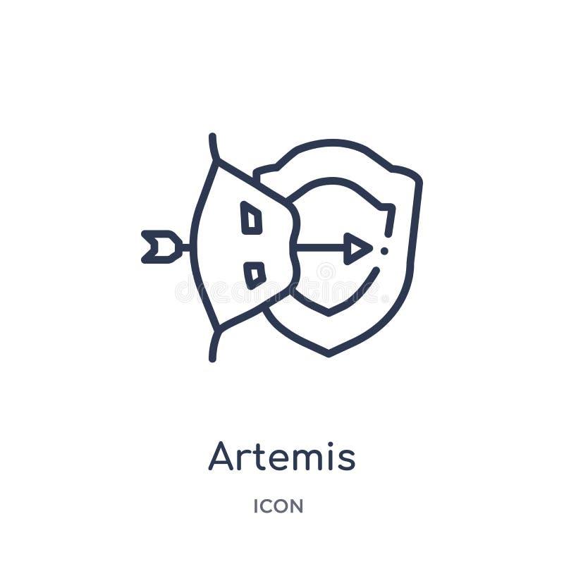 Icono linear de los artemis de la colección del esquema de Grecia Línea fina icono de los artemis aislado en el fondo blanco arte stock de ilustración
