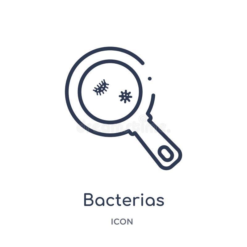 Icono linear de los bacterias de la colección médica del esquema Línea fina icono de los bacterias aislado en el fondo blanco bac stock de ilustración