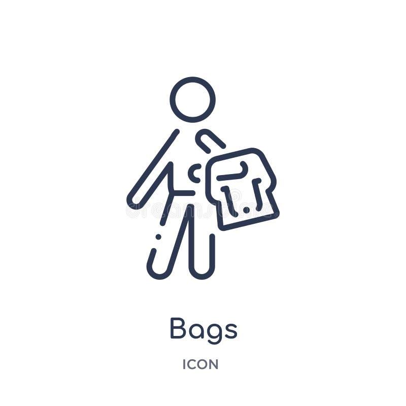 Icono linear de los bolsos de la colección del esquema del tiempo libre Línea fina vector de los bolsos aislado en el fondo blanc libre illustration