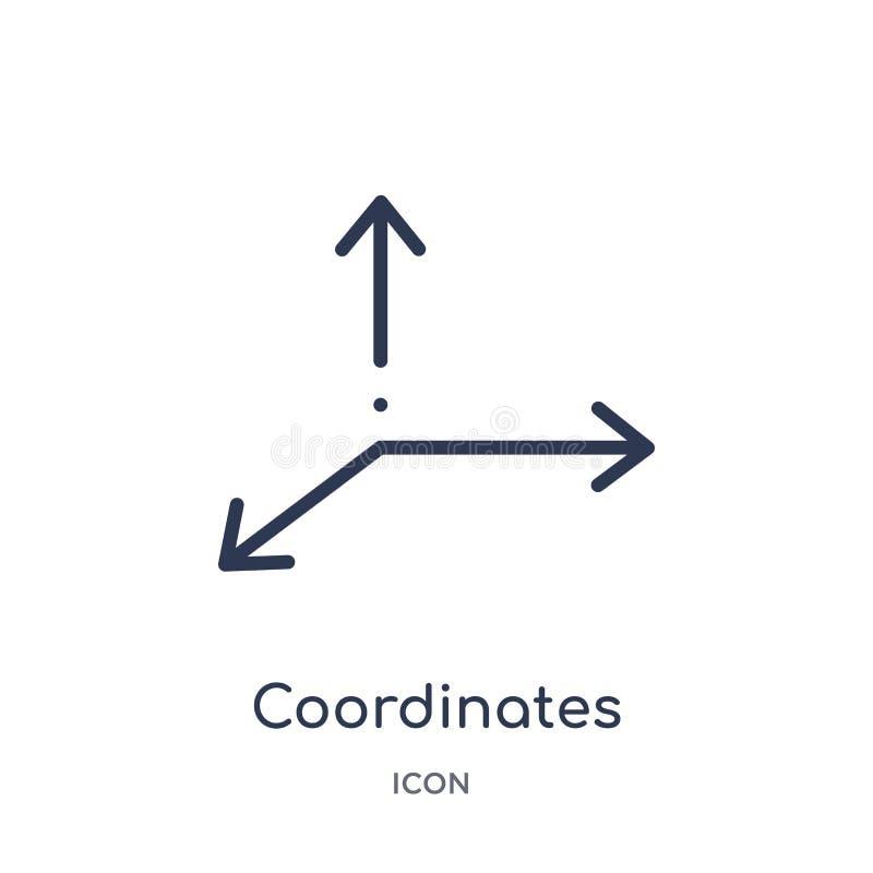 Icono linear de los coordenadas de la figura geométrica colección del esquema La línea fina coordina el icono aislado en el fondo ilustración del vector