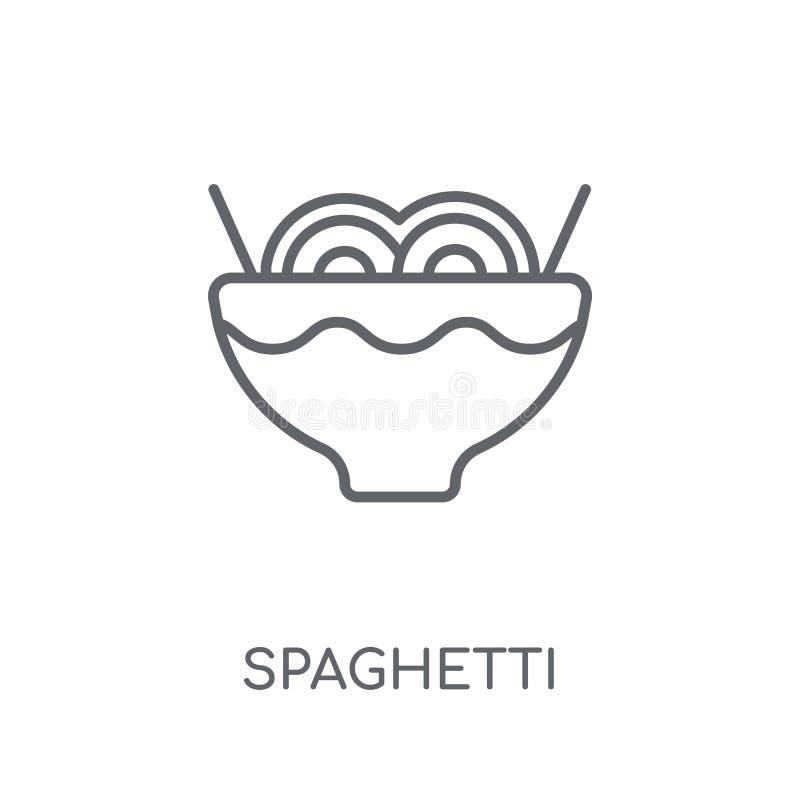 Icono linear de los espaguetis Concepto moderno del logotipo de los espaguetis del esquema encendido stock de ilustración