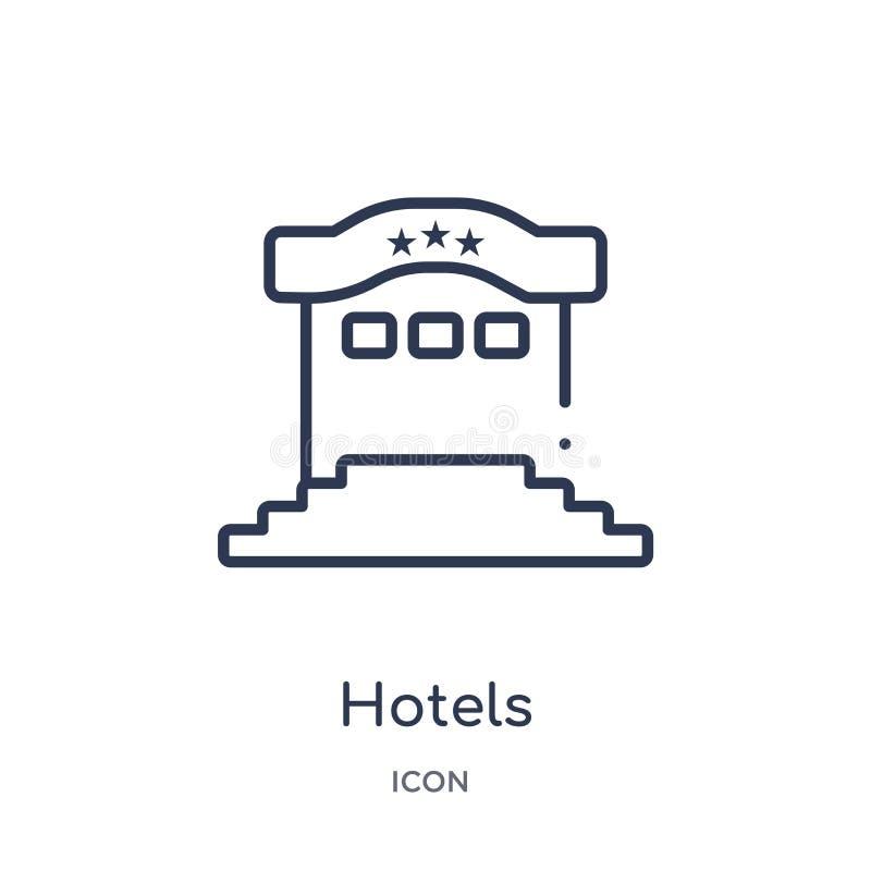 Icono linear de los hoteles de la colección del esquema de los días de fiesta Línea fina icono de los hoteles aislado en el fondo libre illustration