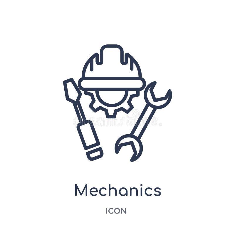Icono linear de los mecánicos de la colección del esquema general Línea fina icono de los mecánicos aislado en el fondo blanco me stock de ilustración