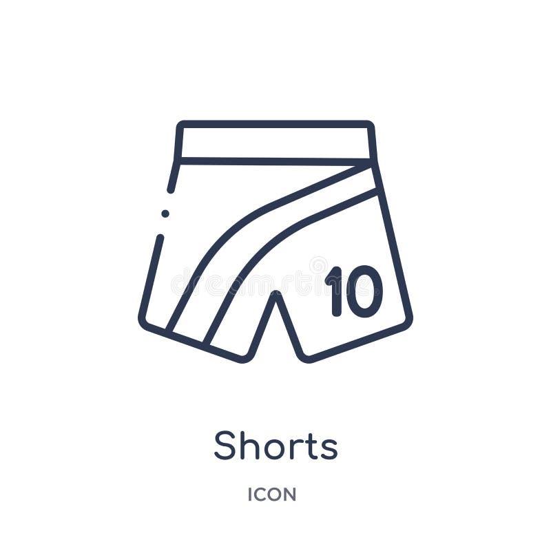 Icono linear de los pantalones cortos de la colección del esquema del fútbol Línea fina vector de los pantalones cortos aislado e stock de ilustración