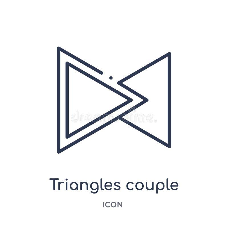 Icono linear de los pares de los triángulos de la colección del esquema de la geometría Línea fina icono de los pares de los triá stock de ilustración