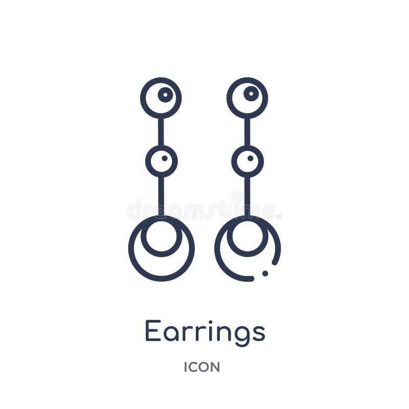 Icono linear de los pendientes de la colección de lujo del esquema Línea fina icono de los pendientes aislado en el fondo blanco  libre illustration