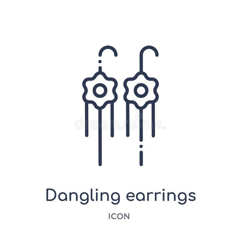 Icono linear de los pendientes que cuelga de la colección del esquema de la moda Línea fina icono de los pendientes que cuelga ai stock de ilustración