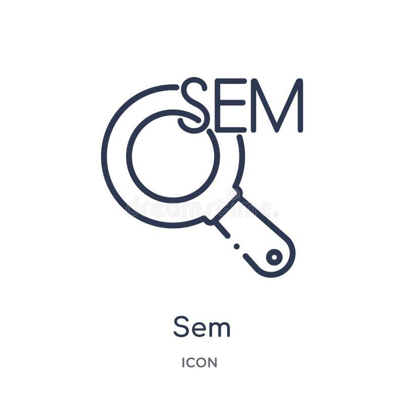 Icono linear de los sem de la colección del esquema general Línea fina icono de los sem aislado en el fondo blanco ejemplo de mod stock de ilustración