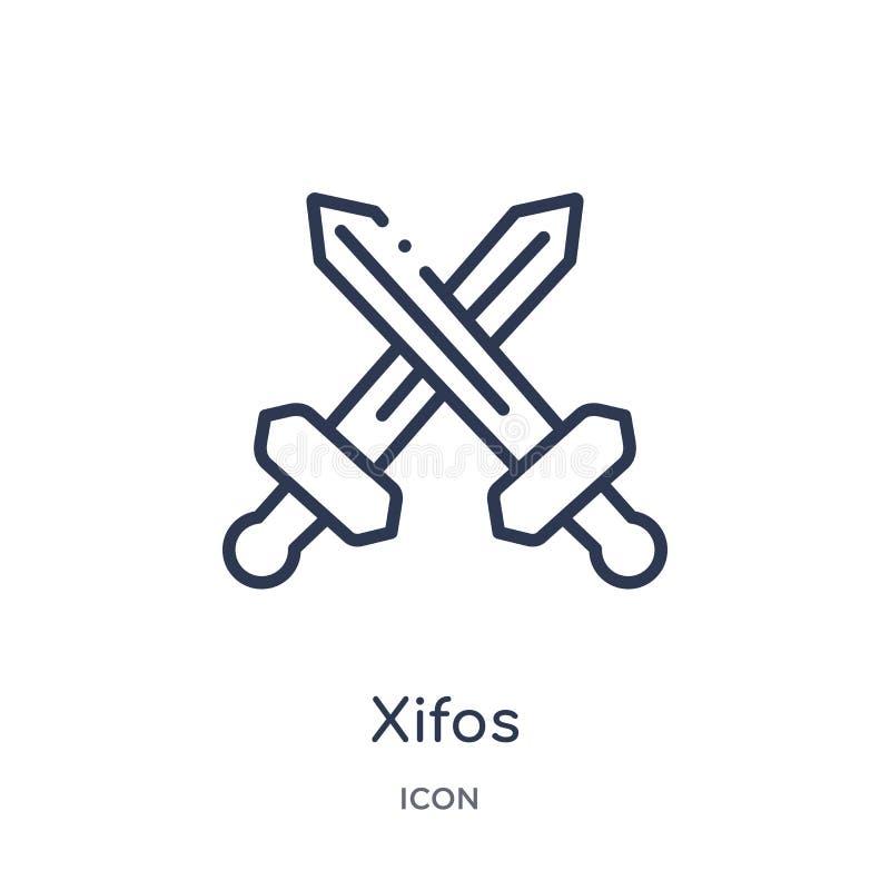 Icono linear de los xifos de la colección del esquema de Grecia Línea fina icono de los xifos aislado en el fondo blanco ejemplo  ilustración del vector