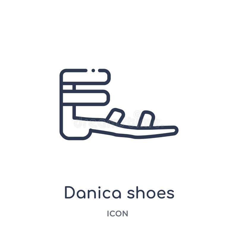 Icono linear de los zapatos del danica de la colección del esquema de la ropa Línea fina vector de los zapatos del danica aislado stock de ilustración