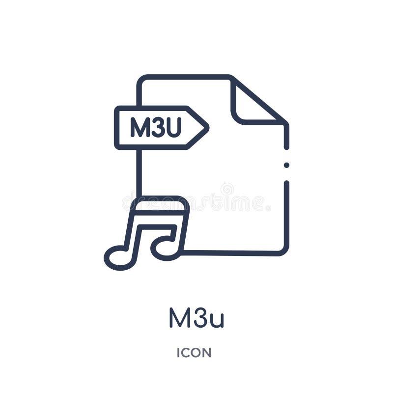 Icono linear de m3u de la colección del esquema del tipo de archivo Línea fina vector de m3u aislado en el fondo blanco ejemplo d ilustración del vector