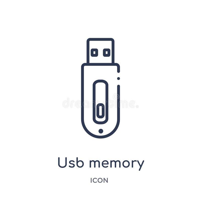 Icono linear de memoria USB de la colección del esquema de la electrónica Línea fina icono de memoria USB aislado en el fondo bla libre illustration