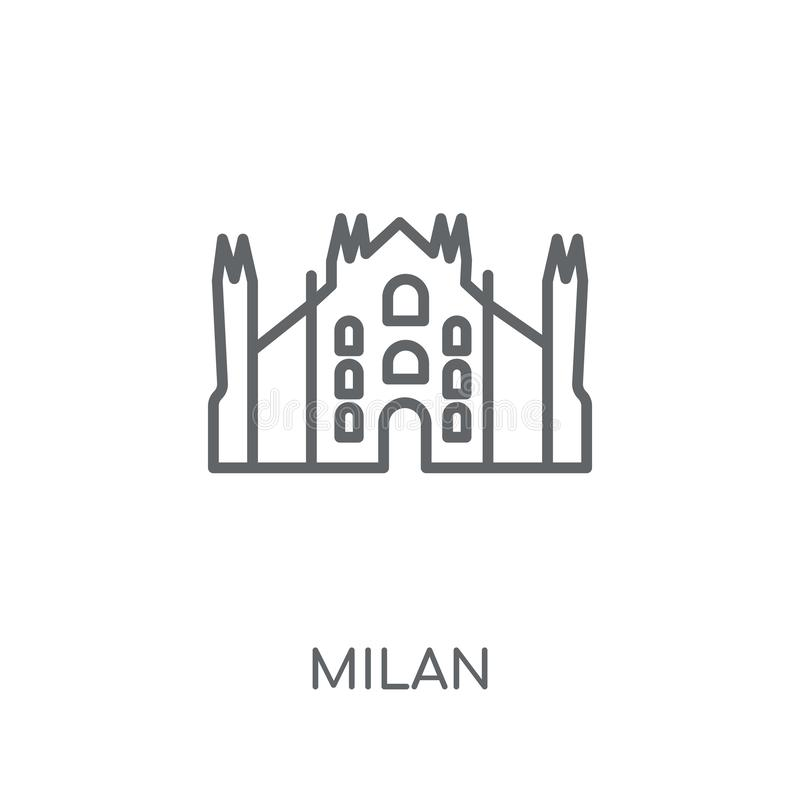 Icono linear de Milán Concepto moderno del logotipo de Milán del esquema en los vagos blancos libre illustration